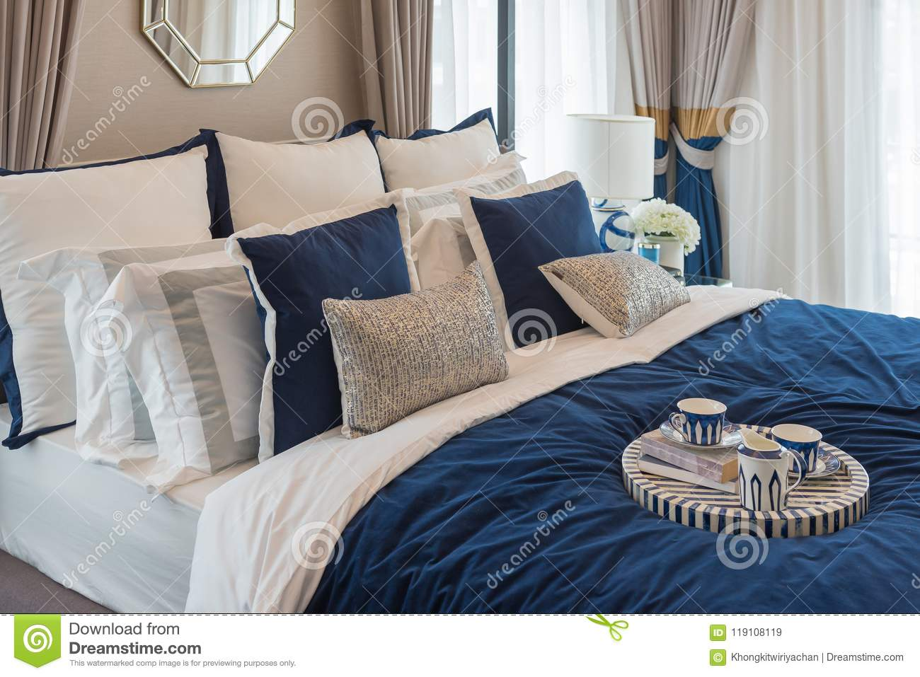 Download Luxury Bedroom In Indigo Blue Tone Stock Image   Image Of Home,  Lifestyle: