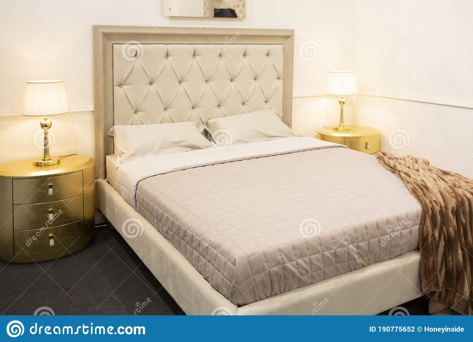 Luxury Bedroom Interior With Royal Bed With Golden Elements Stock Photo Image Of Home Bedside 190775652