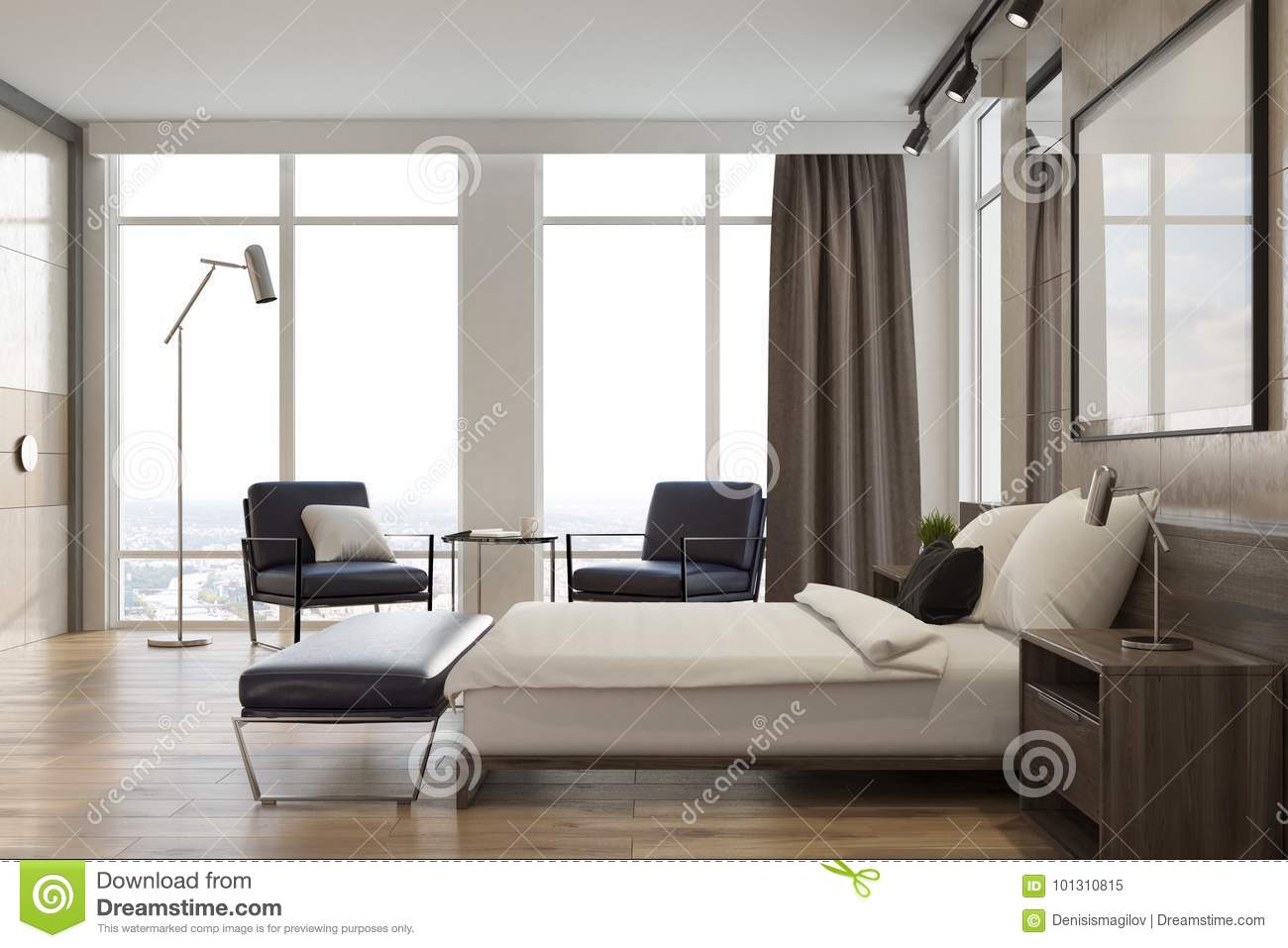 Light Gray Bedroom Interior, Poster, Side View Stock Illustration ...