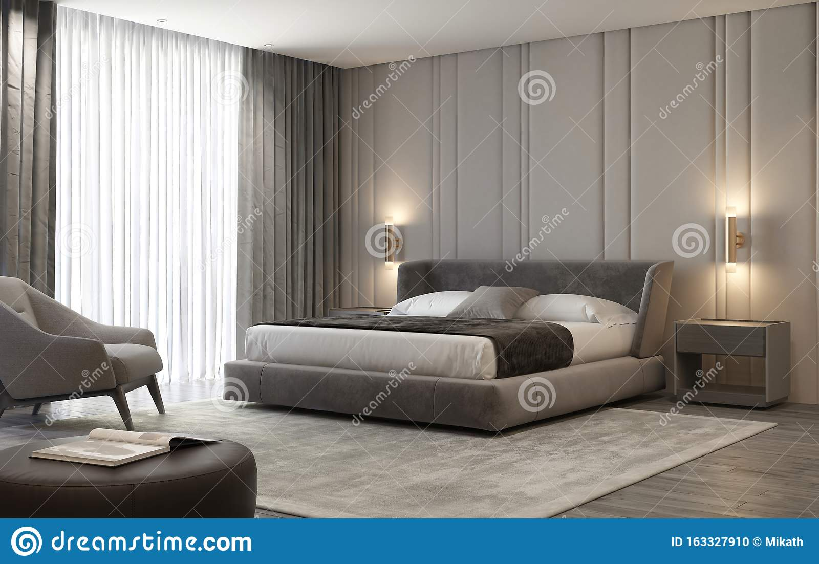 Luxury Beige And Grey Inreior Bedroom With Brass Wall Lamps Stock Photo Image Of Door Frame 163327910