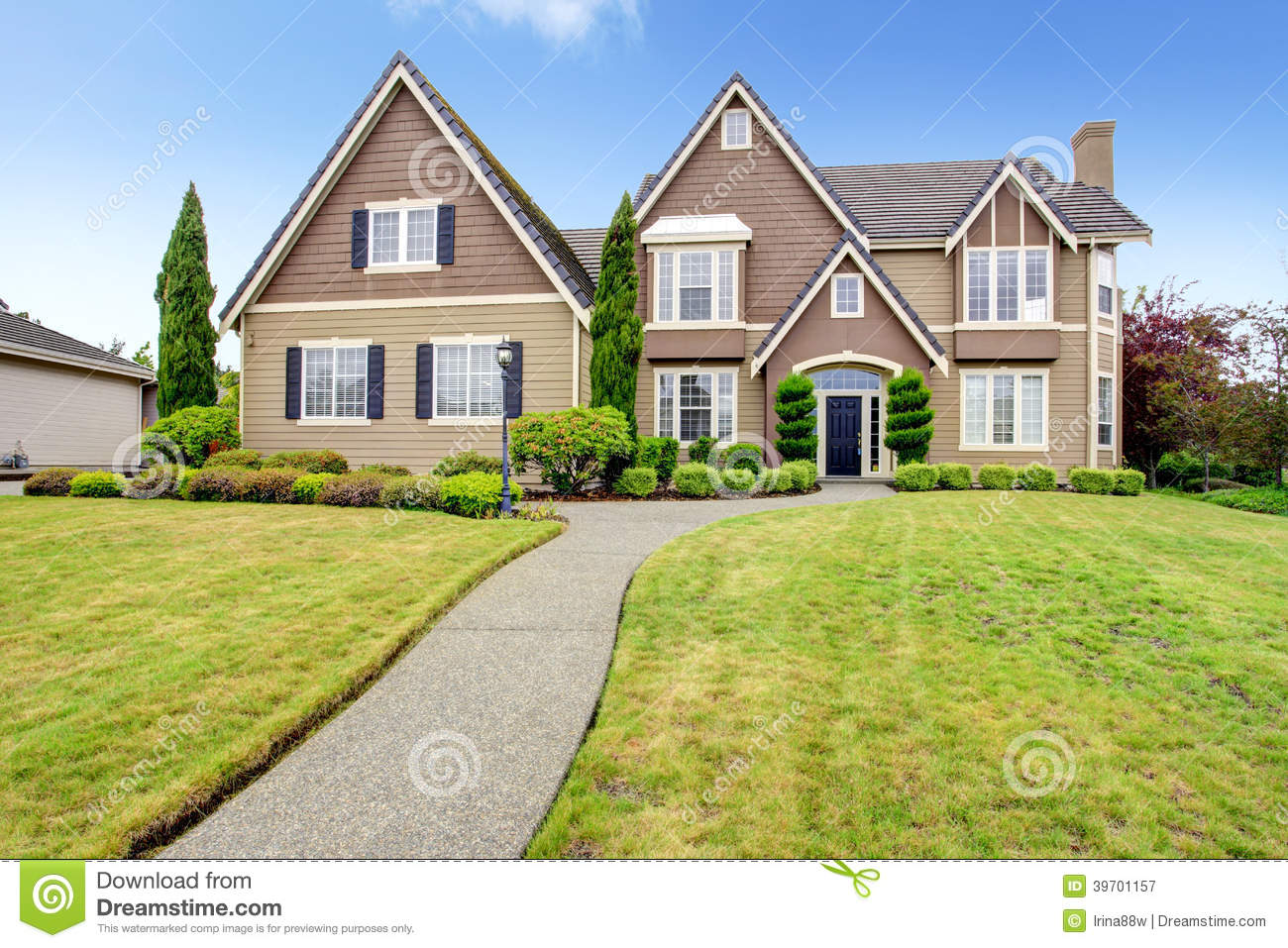 Luxury big house with beautiful curb appeal stock image for Big house images