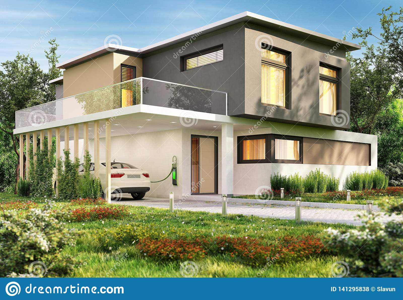 Luxury Modern House And Electric Car Stock Photo Image Of