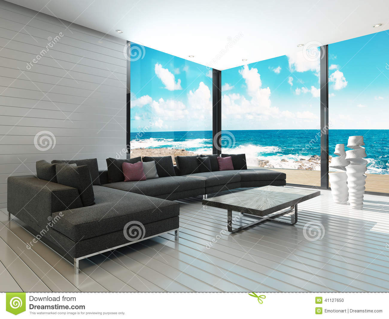 Stock Illustration Luxury Black Couch Maritime Style Living Room Sea View Image Image41127650 on urban retail design loft interior
