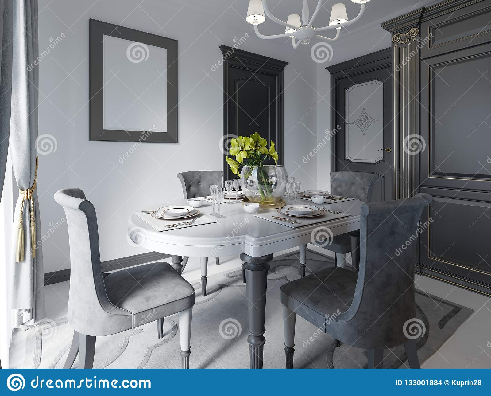 Image of: Luxury Black Dining Room With Dark Furniture White Marble Floor And Day Light Stock Illustration Illustration Of Decor Crystal 133001884