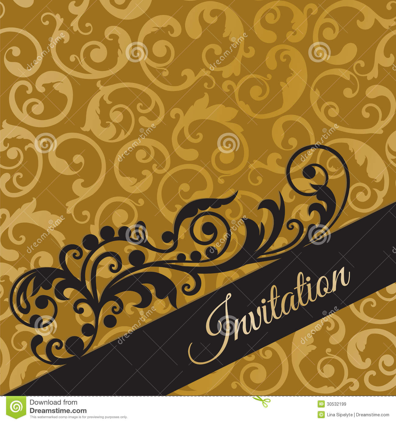 Luxury Black And Gold Invitation Card With Swirls Stock