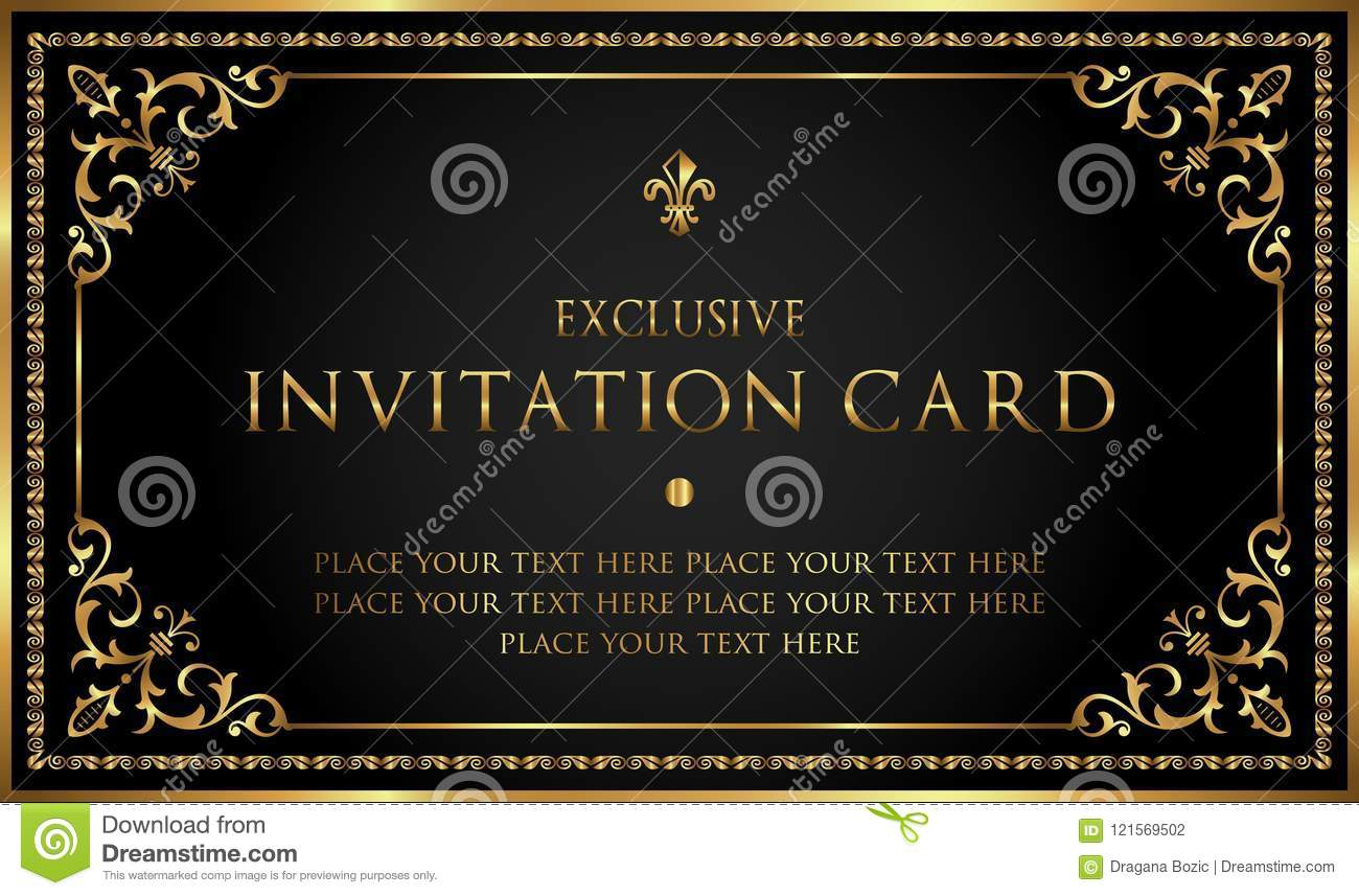 luxury black and gold invitation card vintage style stock vector