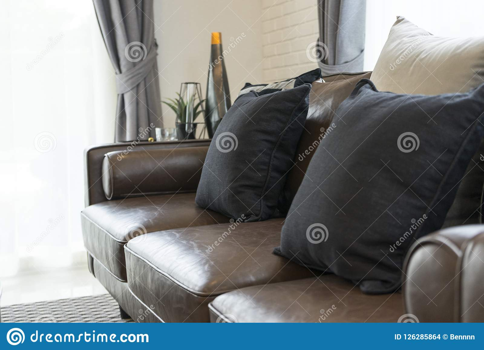 Luxury Black And Grey Pillow On Sofa In Living Room With Side Table Stock Photo Image Of Bedroom Hotel 126285864