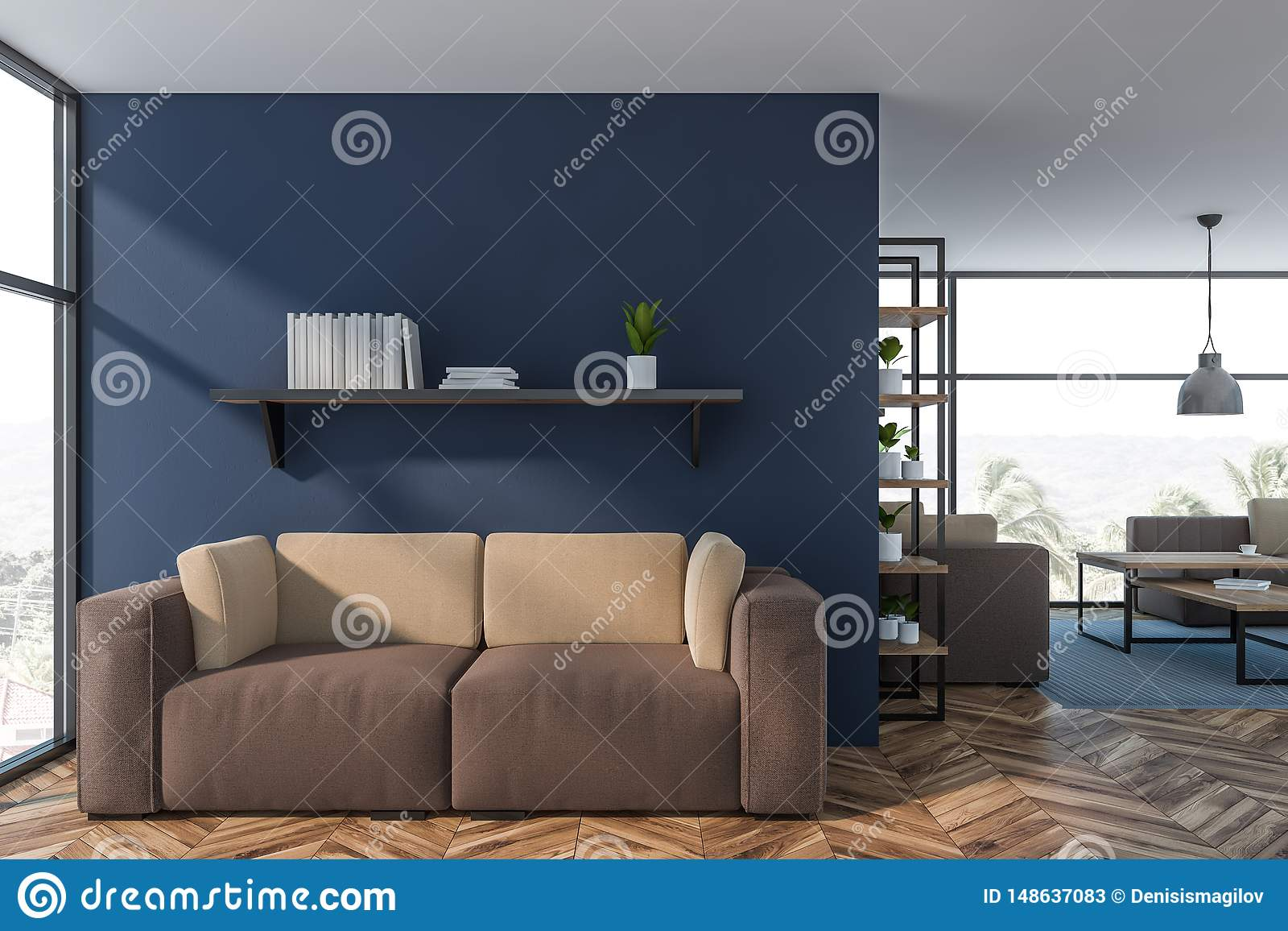 Luxury Blue Living Room Interior With Sofa Stock Illustration Illustration Of Flower Coffee 148637083