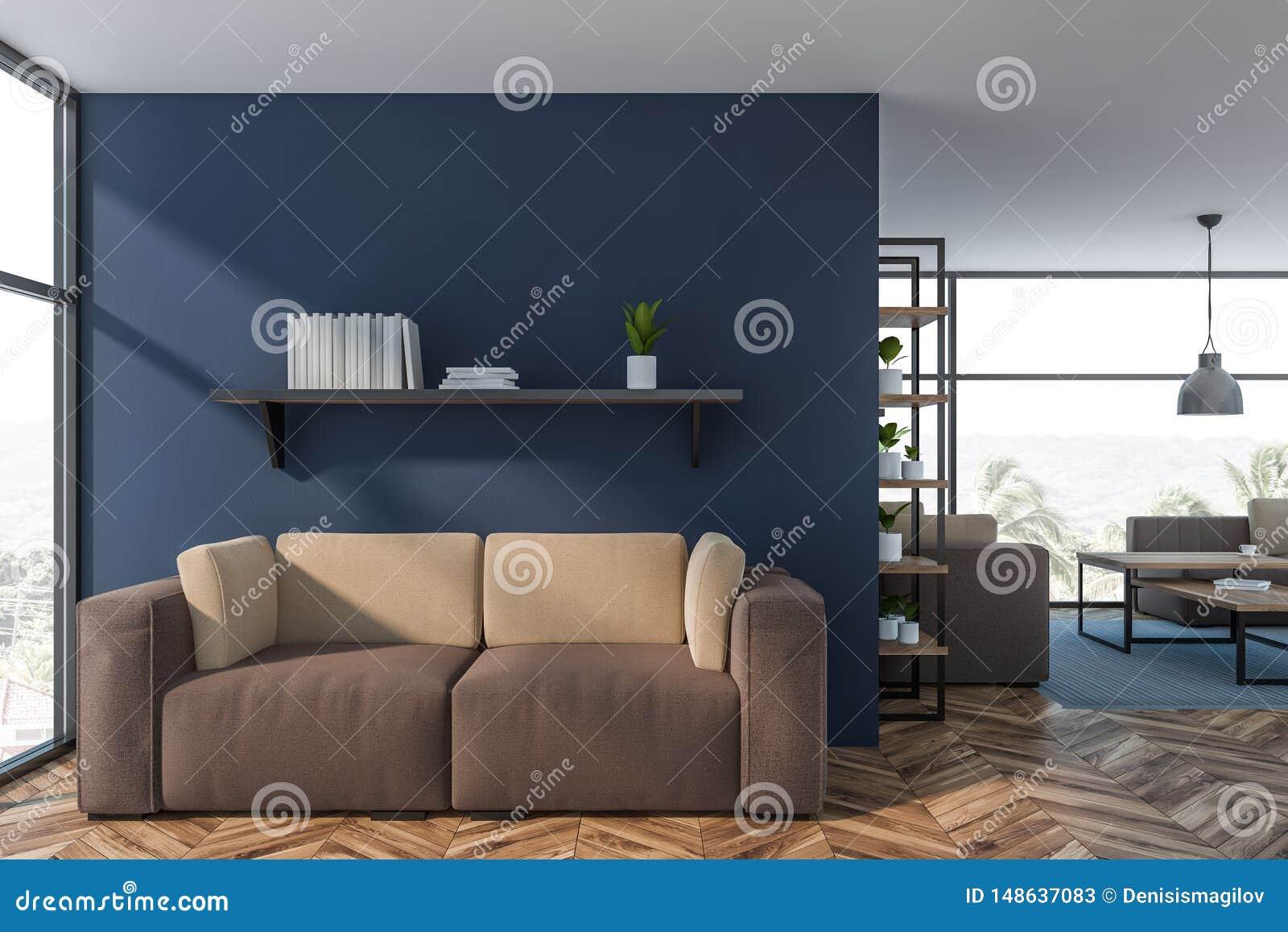 Luxury Blue Living Room Interior With Sofa Stock ...