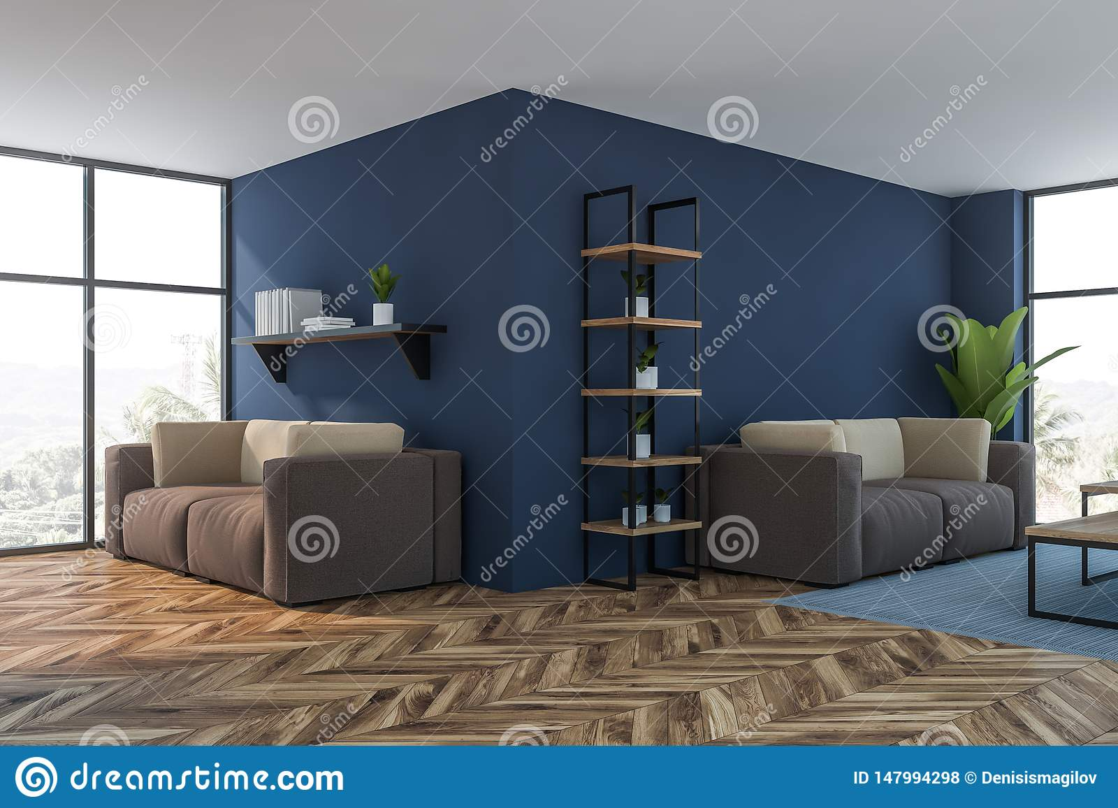 Miraculous Luxury Blue Living Room Or Lounge Corner Stock Illustration Onthecornerstone Fun Painted Chair Ideas Images Onthecornerstoneorg