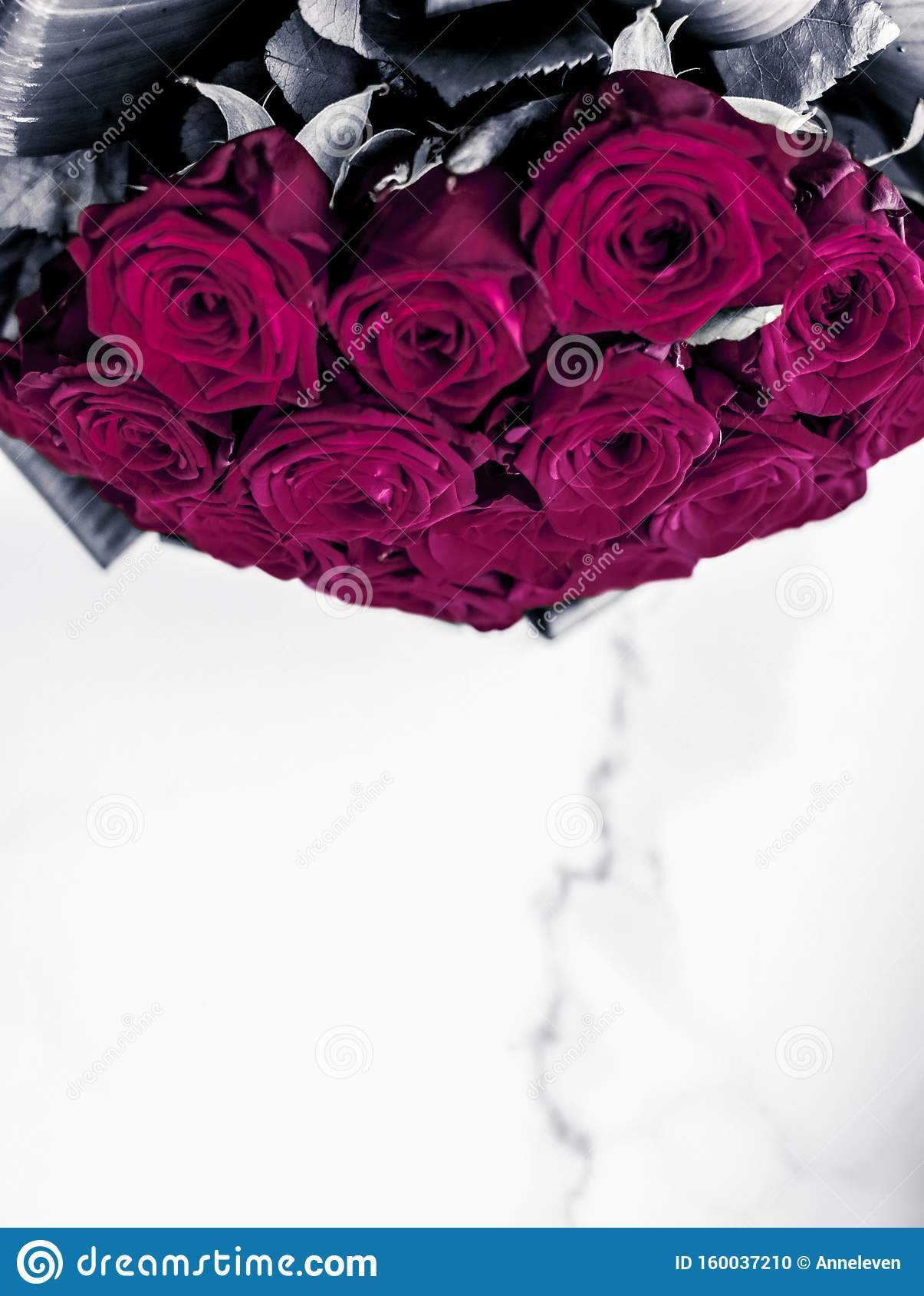 Luxury Bouquet Of Maroon Roses On Marble Background ...