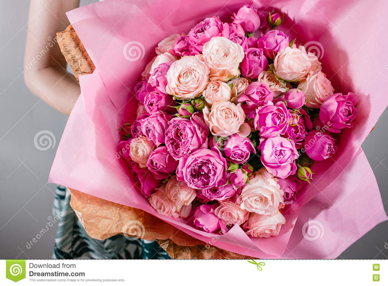 Luxury Bouquets Of Flowers Pink Colour Peonies And Roses In The