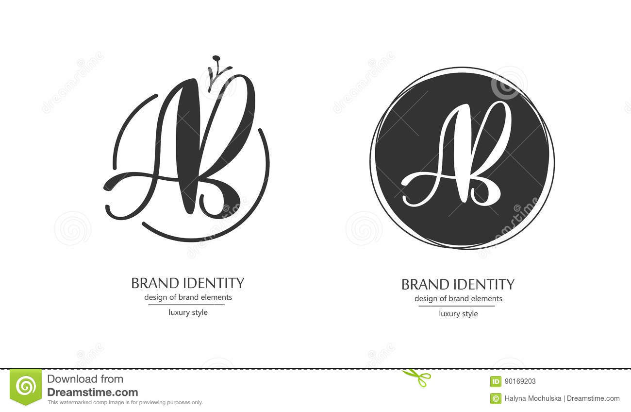 Luxury Brand Identity Calligraphy AB Letters Sophisticated Logo