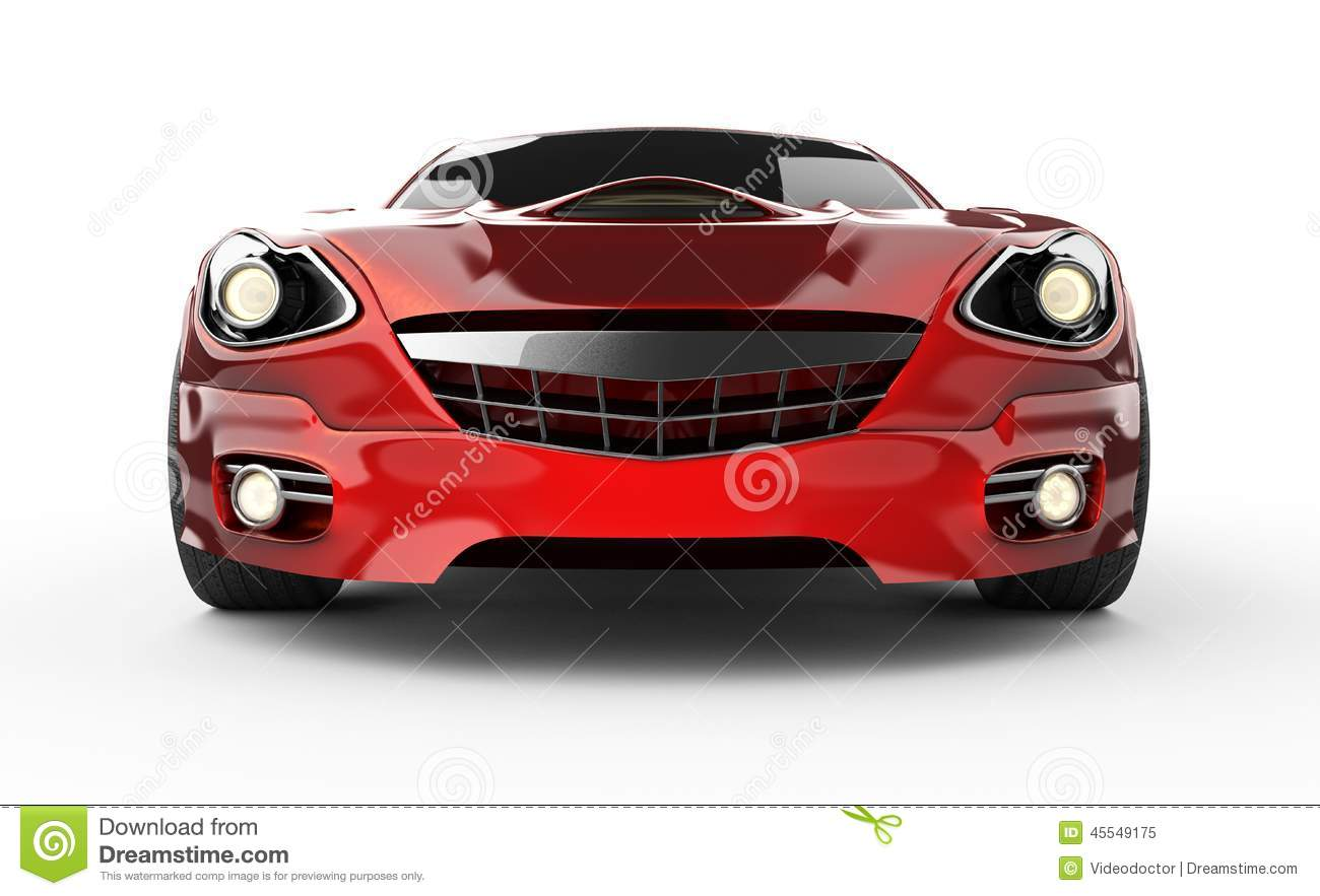 Luxury Brandless Red Sport Car At White Background Stock ...