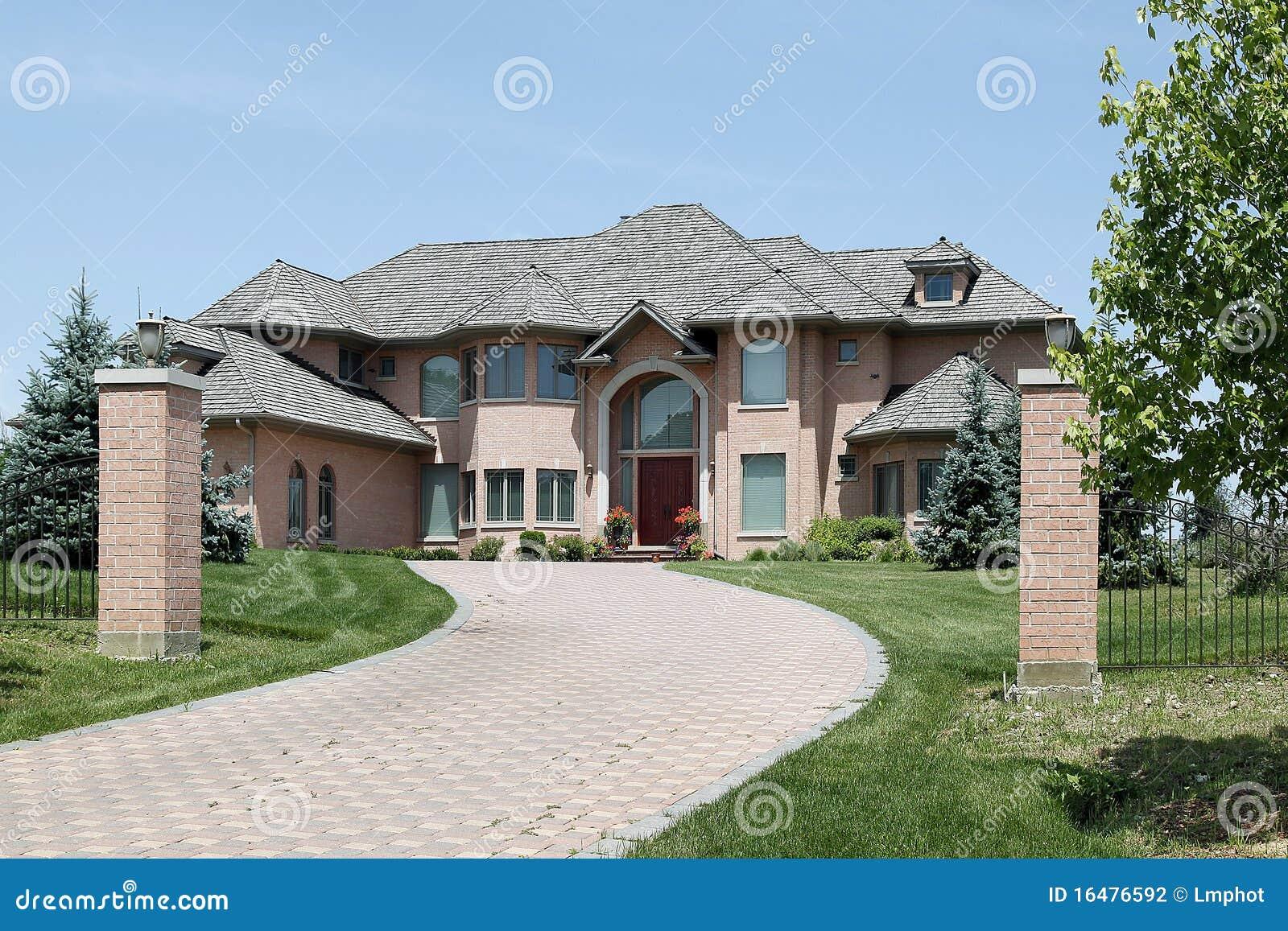 Luxury Brick Home With Pillars Stock Photography Image