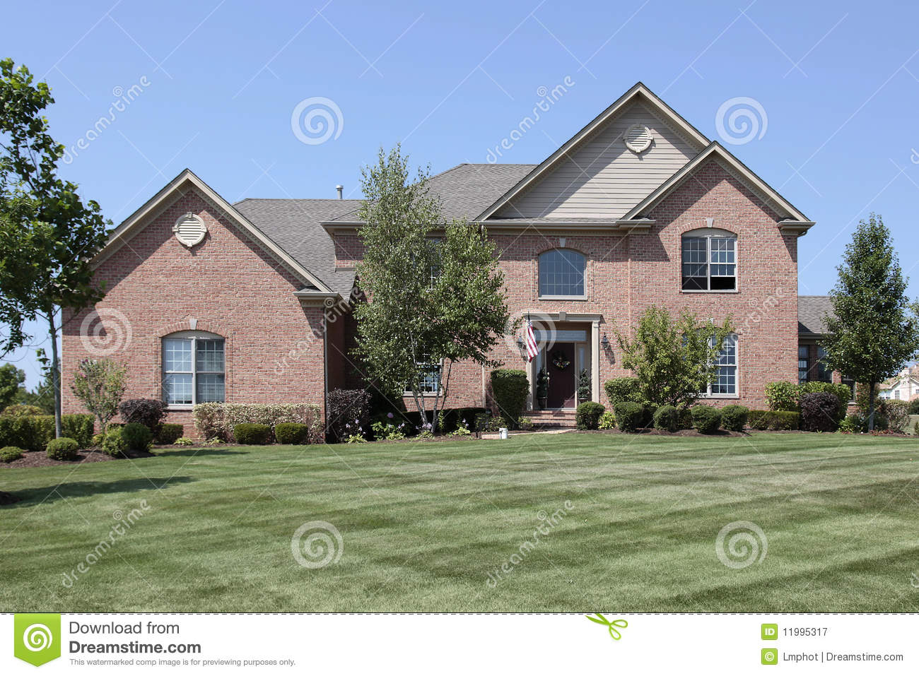 Luxury brick home in suburbs stock image image 11995317 for Luxury brick house plans