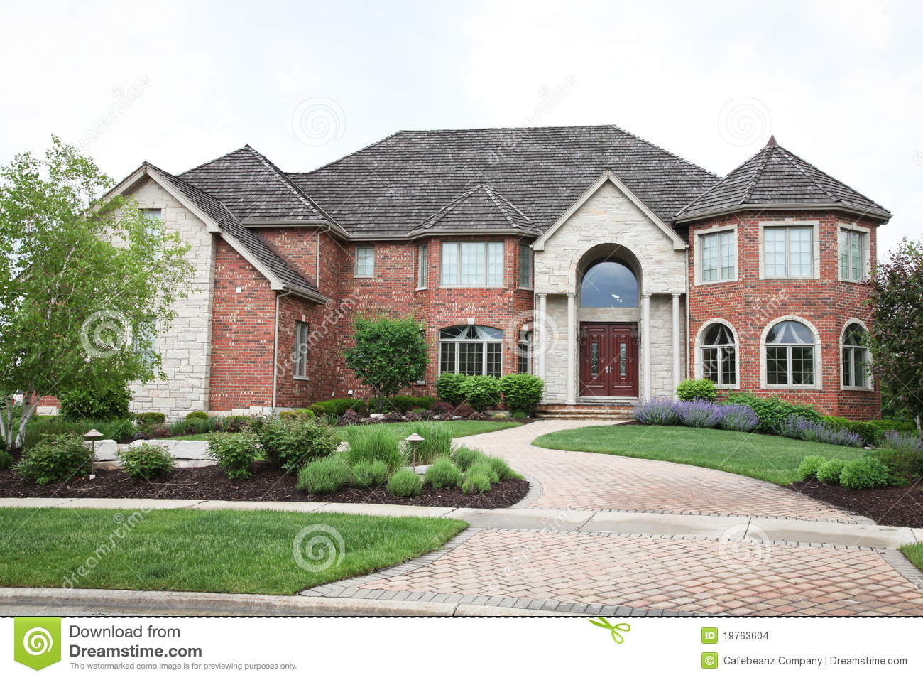 Luxury brick house stock photo image of bankowned home for Luxury brick house plans