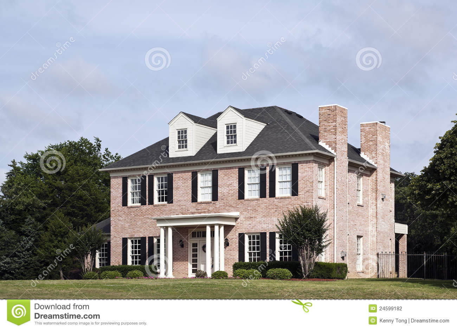 Luxury brick house stock photo image of modern large for Luxury brick house plans