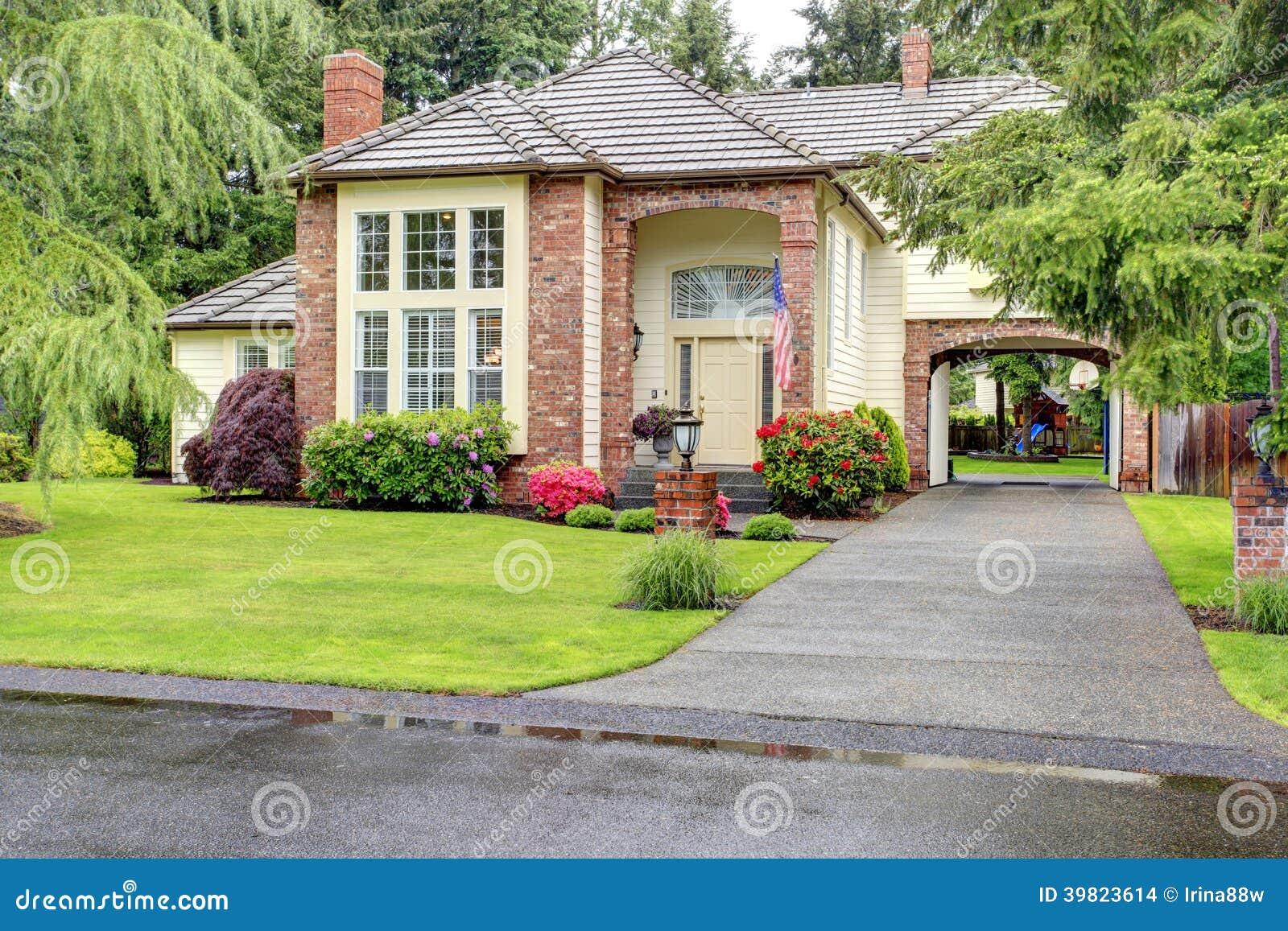 Luxury Brick House With Siding Trim Stock Photo Image