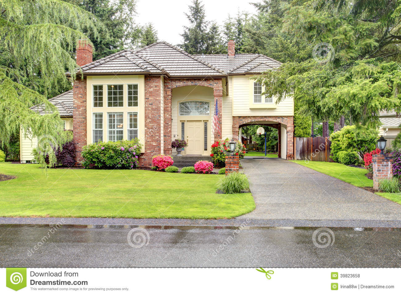 Luxury Brick House With Siding Trim Stock Photo Image Of