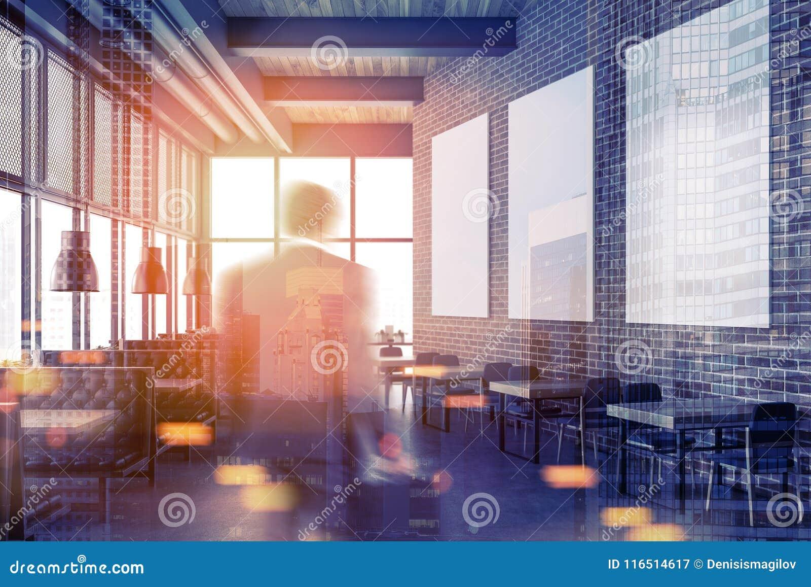 Luxury brick restaurant, poster gallery toned