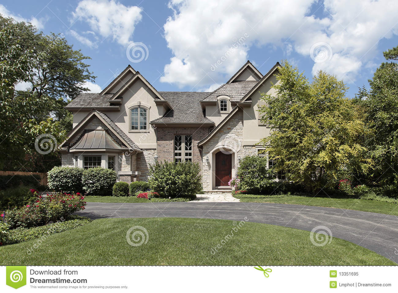 Luxury brick and stone home stock image image 13351695 for Stone and brick