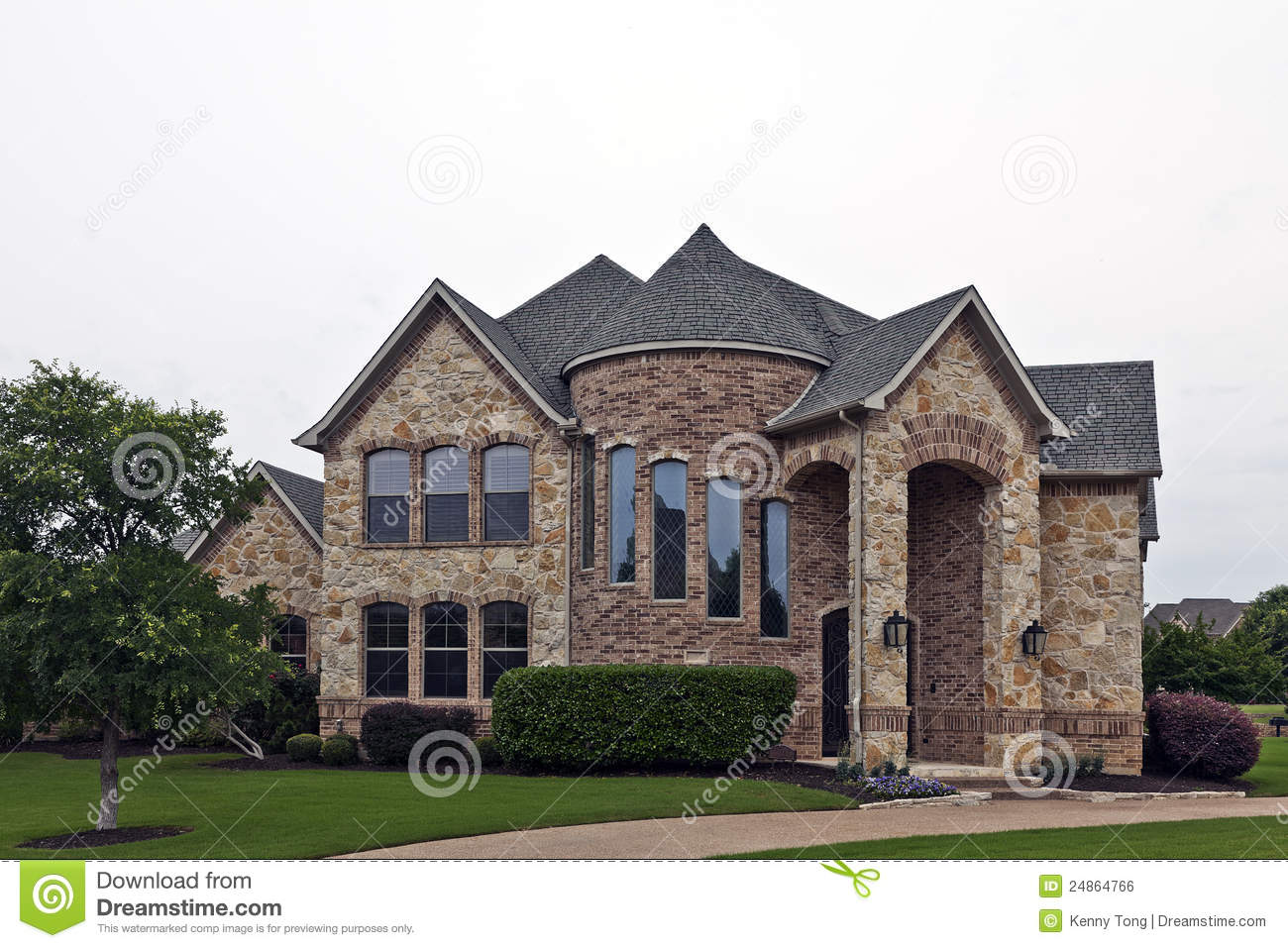 Luxury brick stone house stock photo image of house for Luxury brick house plans