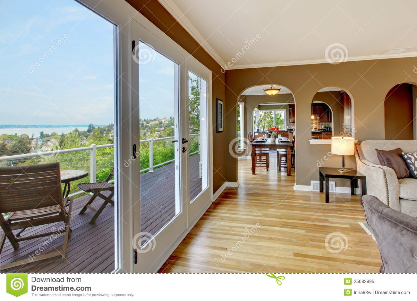 Luxury Brown Living Room With Hardwood Floors Stock Image Image 25082895