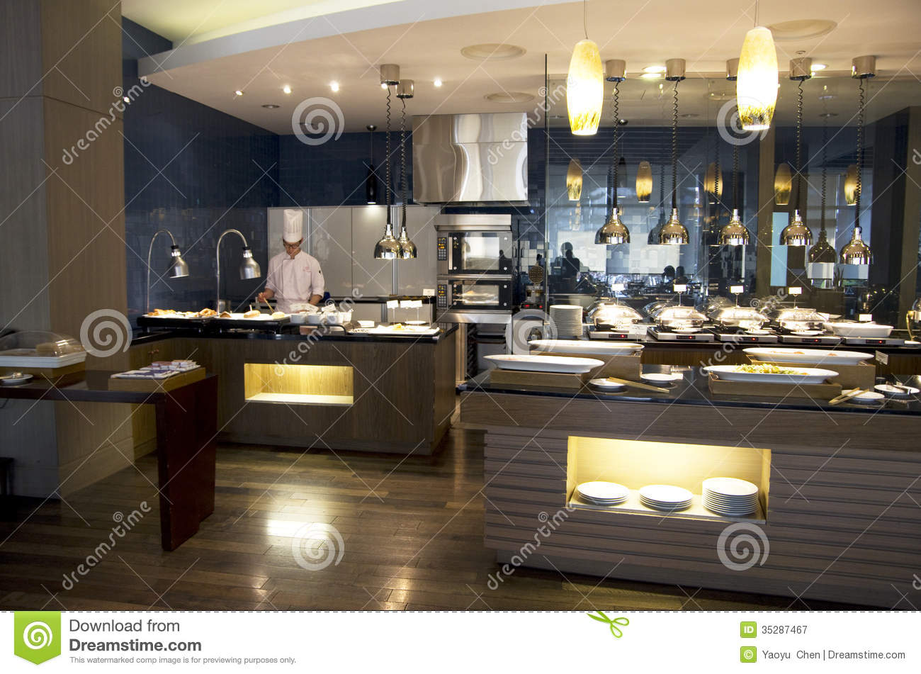 Luxury buffet restaurant editorial photography image of