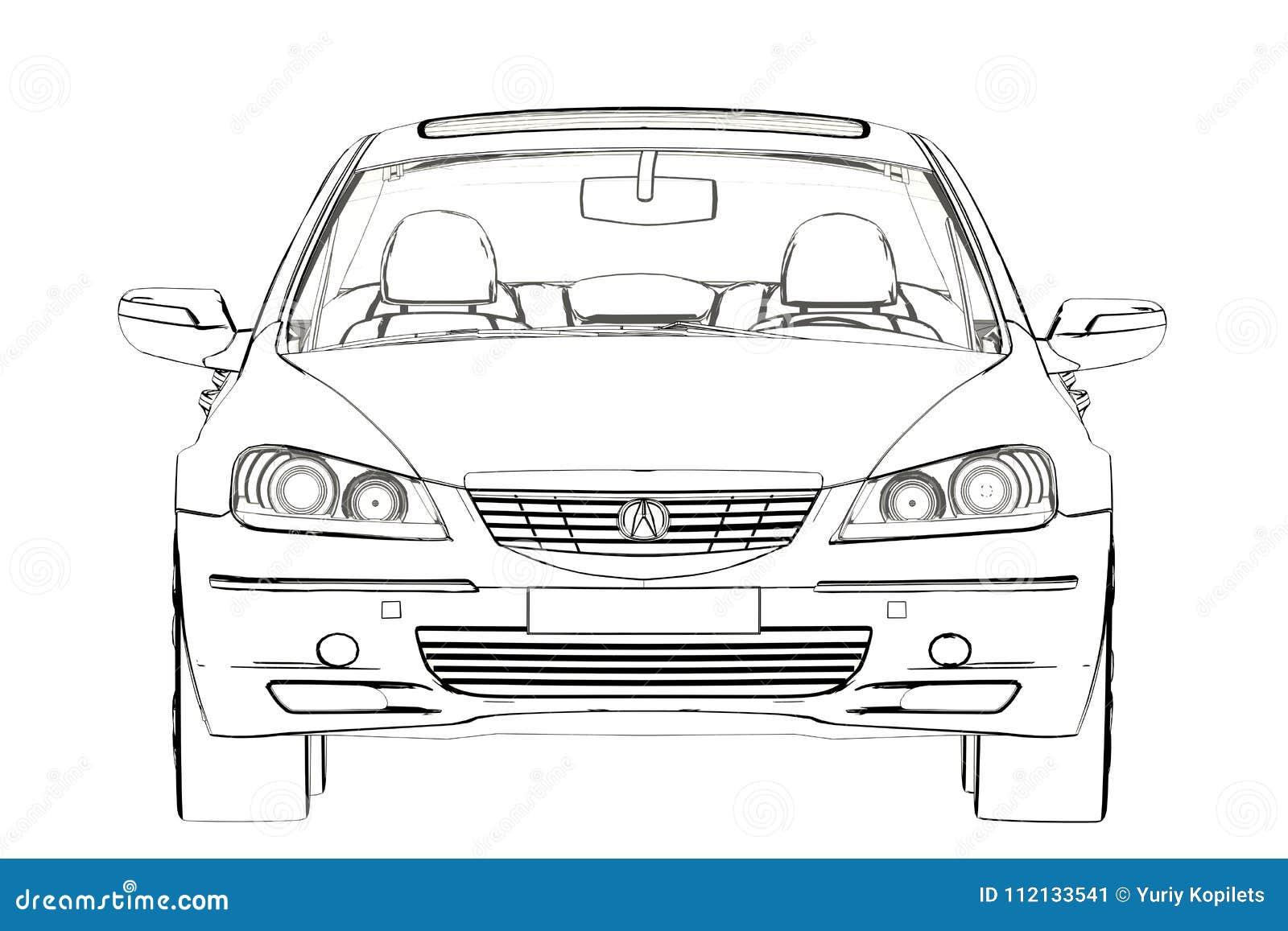 Luxury Car Acura Rl Sketch 3d Illustration Editorial Photo