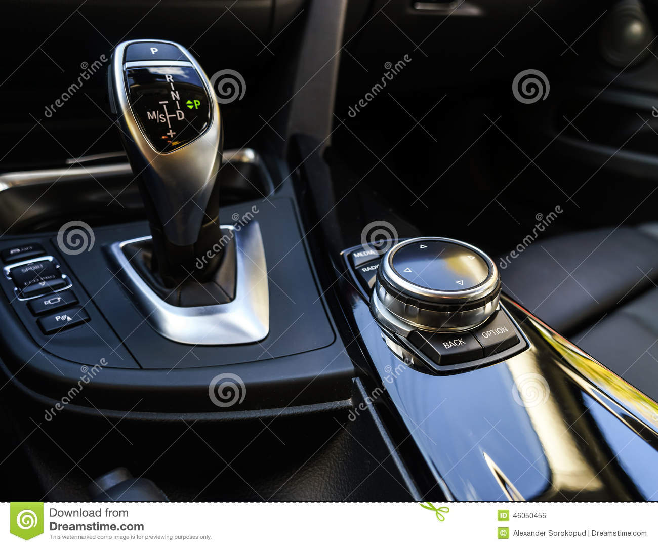 Luxury Car Automatic Transmission Handle Stock Photo - Image