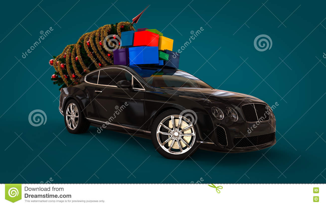 Luxury Car With Christmas Gifts Stock Illustration