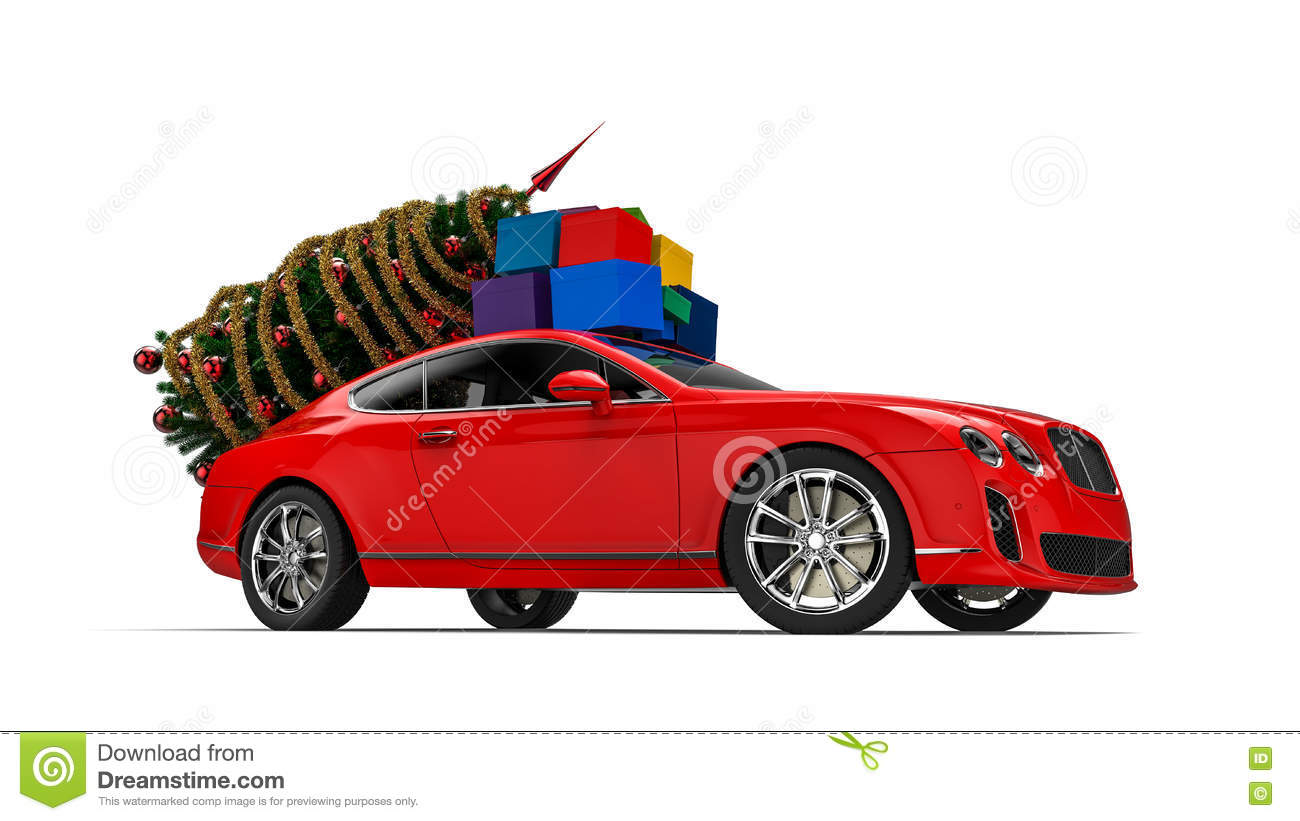 Luxury Car With Christmas Gifts Stock Illustration Illustration Of
