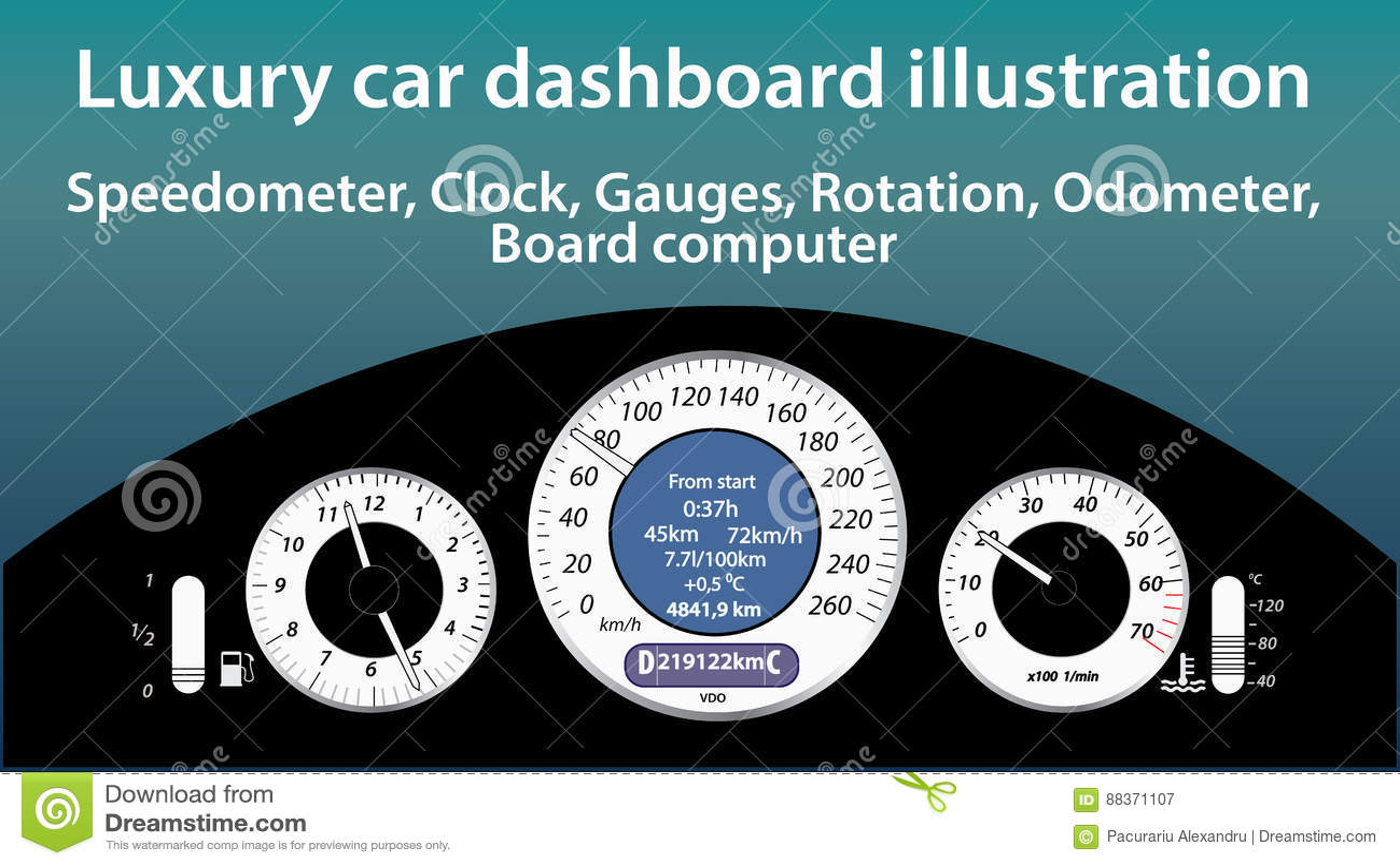 Luxury Car Dashboard Illustration Gauges Speedometer Clock