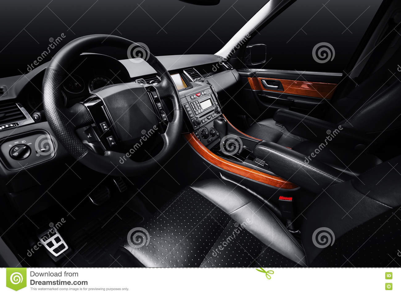 luxury car leather interior black studio background stock photo image 81330058. Black Bedroom Furniture Sets. Home Design Ideas