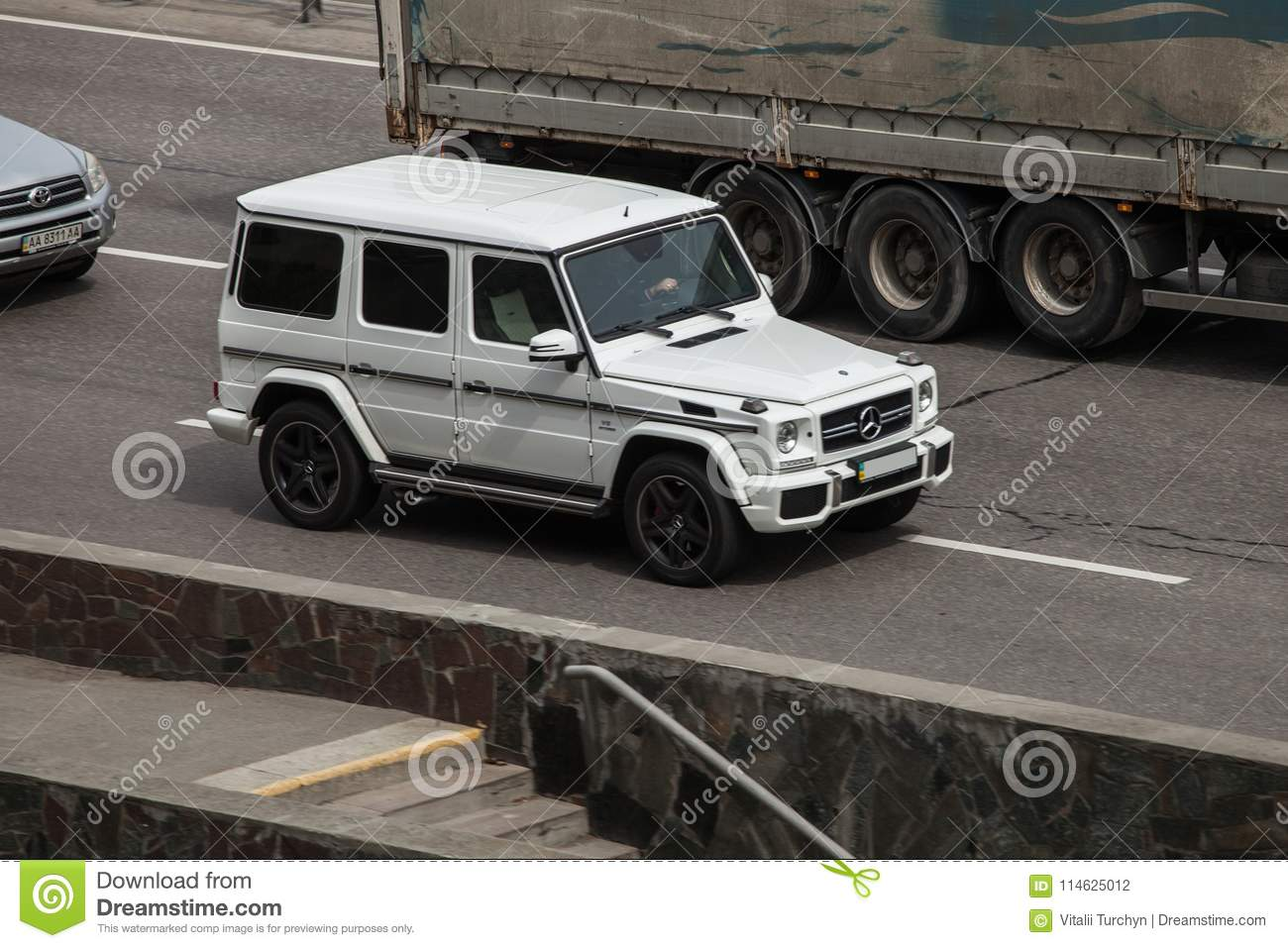 Luxury Car White Mercedes Benz G Speeding On Empty Highway Editorial Photography Image Of Automobile Fastest 114625012