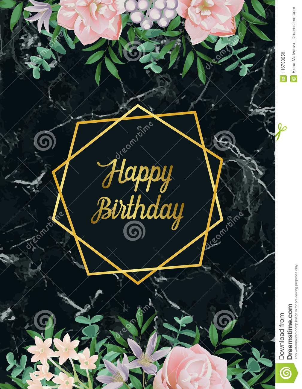 Luxury Card With Gold Frame Pink Flowers Greenery Spring Happy Birthday Composition On Black Marble Backdrop Floral Template Wiht Text Place For Holiday