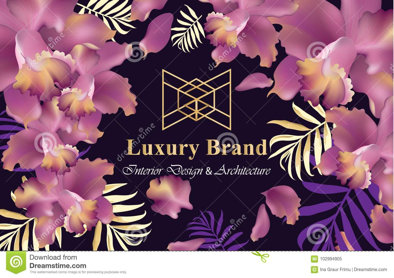 Luxury card with orchid flowers vector beautiful illustration for download luxury card with orchid flowers vector beautiful illustration for brand book business card reheart Image collections