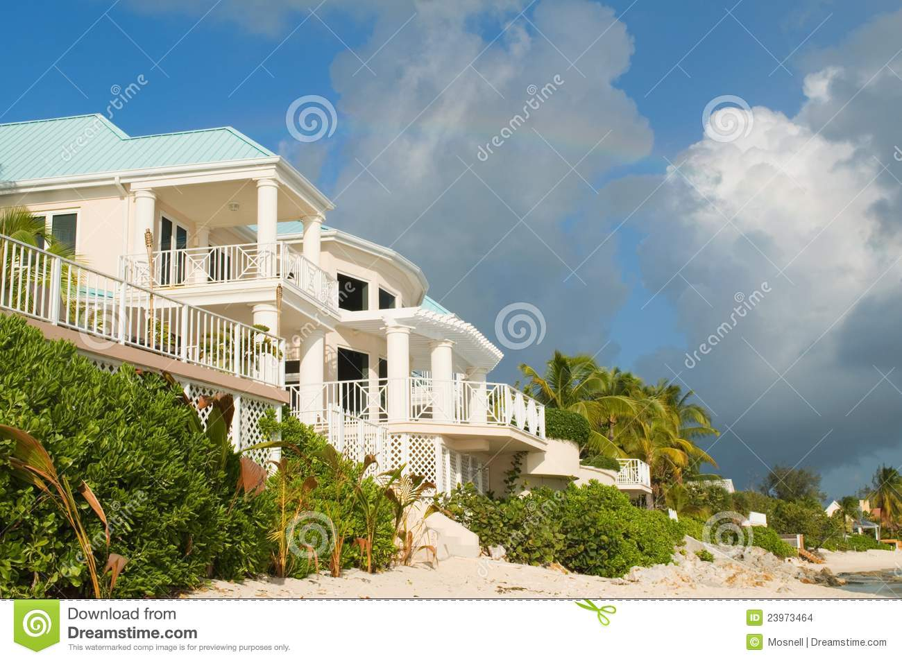 Luxury caribbean beachfront home stock images image for Luxury caribbean homes for sale