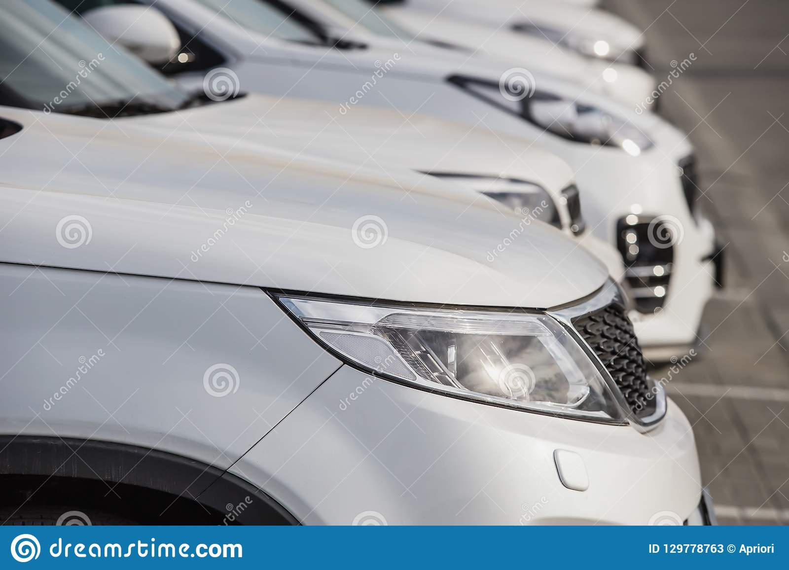 Luxury Cars For Sale Stock Lot Row Stock Image - Image of