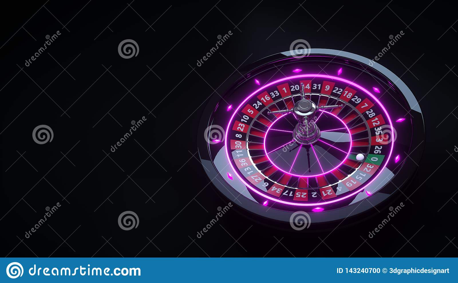 Luxury Casino Gambling Roulette Wheel 3D Realistic With Neon Lights - 3D Illustration