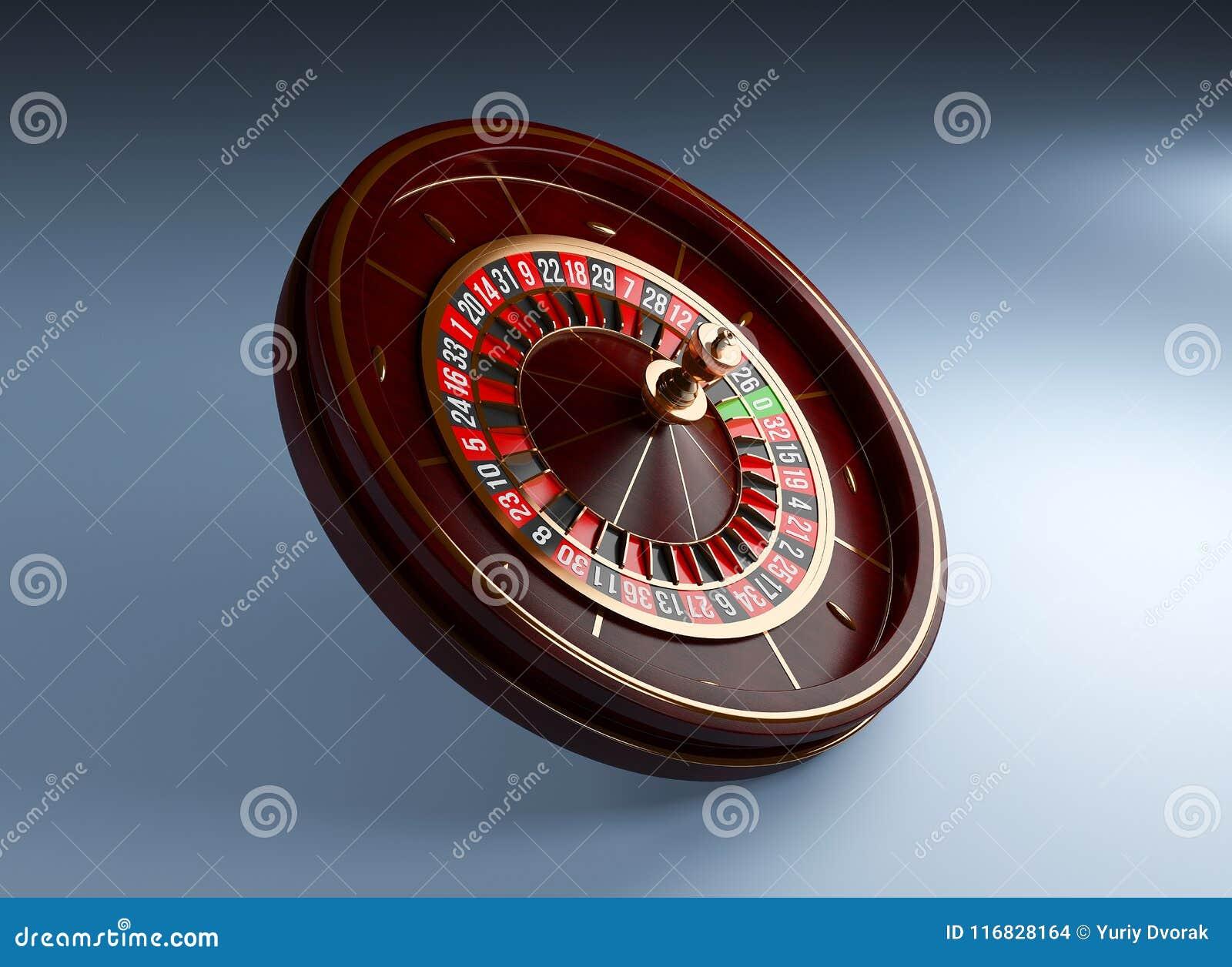 Luxury Casino roulette wheel on blue background. Wooden Casino roulette 3d rendering illustration
