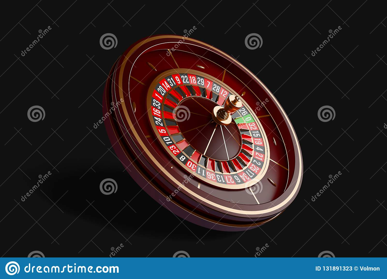 Luxury casino roulette wheel isolated on black background. 3d realistic vector illustration. Online casino roulette