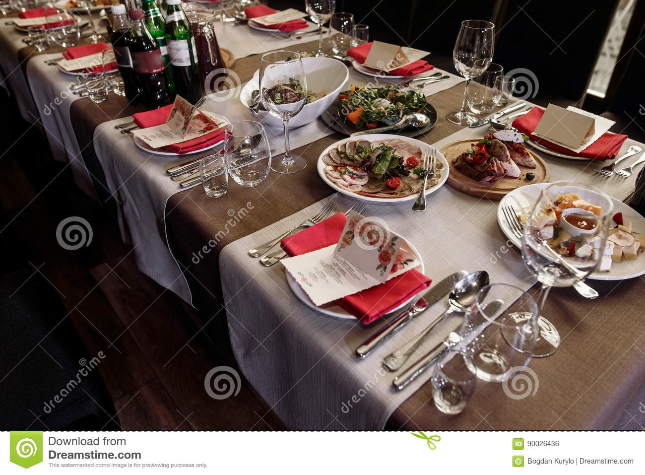 Luxury Catering At Restaurant Wedding Reception Special Occasion Table Arrangement In Brown Rustic Colors Food Glasses And Ta Stock Photo Image Of Fine Celebration 90026436