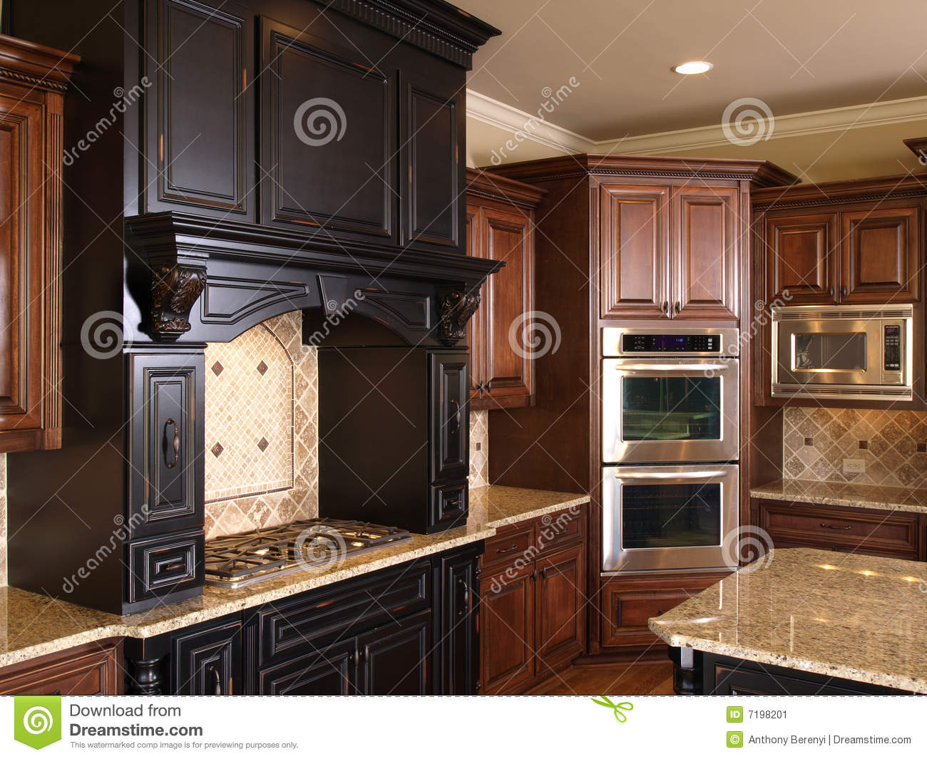 Luxury center island kitchen burners oven stock image for Luxury oven
