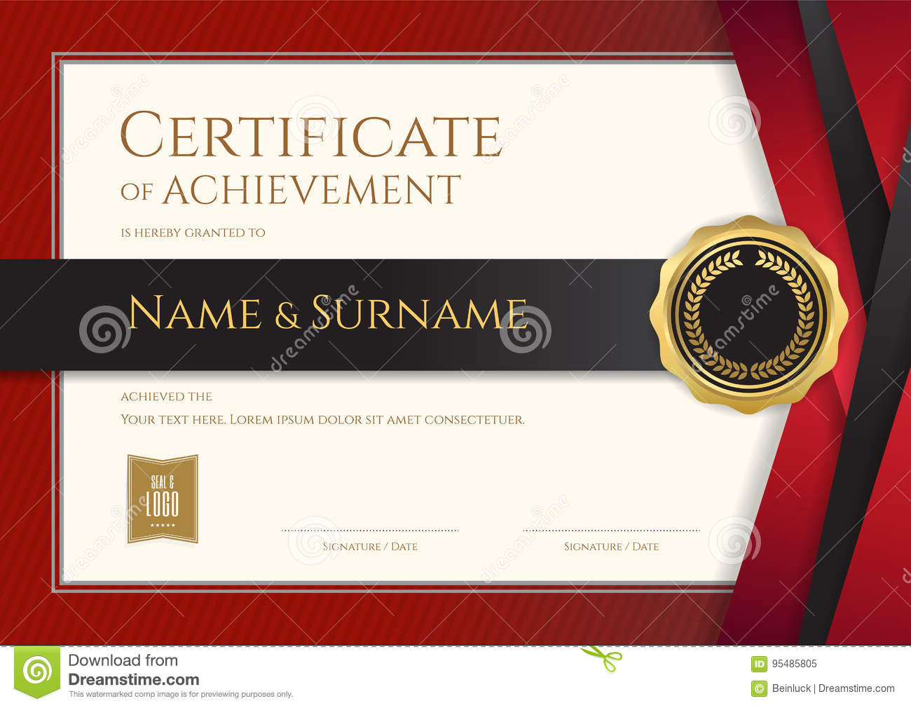 luxury certificate template with elegant border frame diploma d