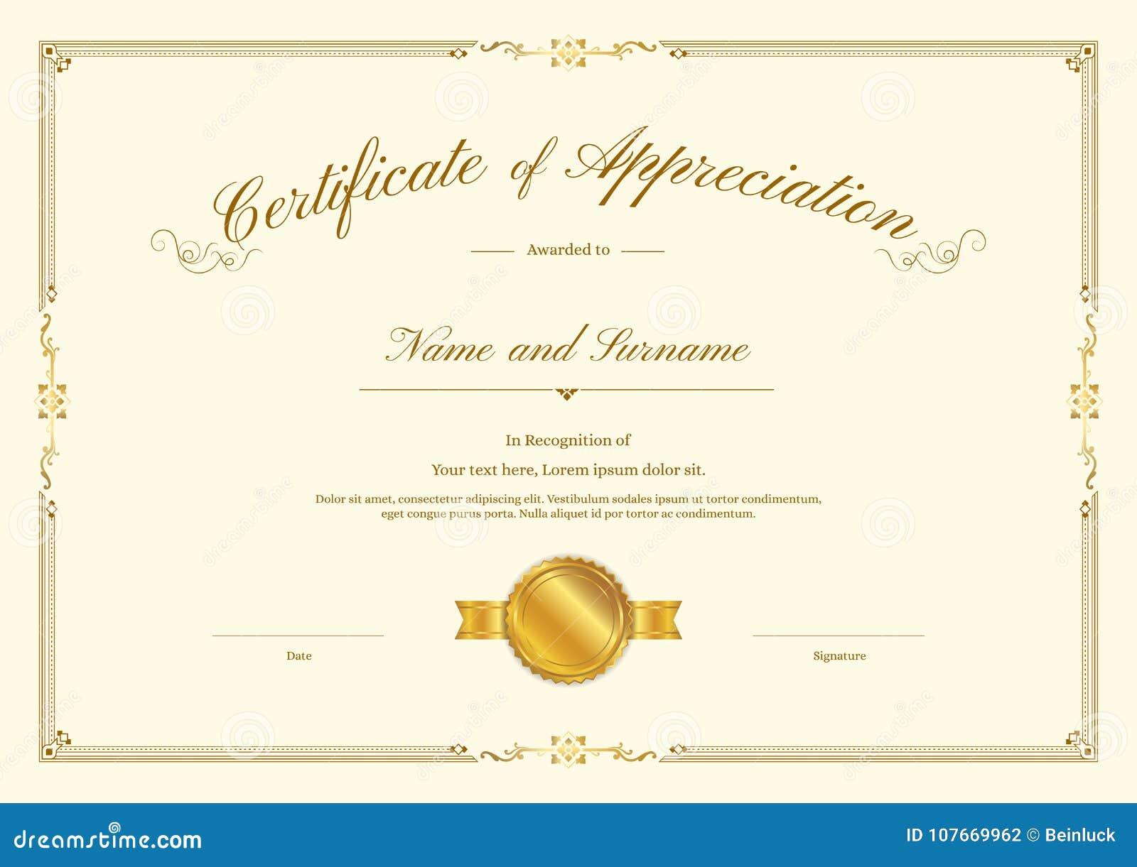 Luxury certificate template with elegant border frame, Diploma design