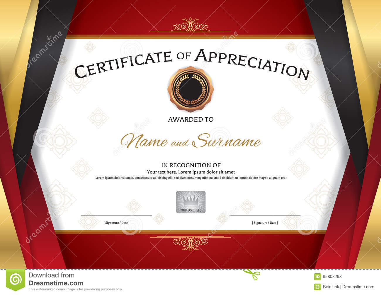 Luxury certificate template with elegant golden red border frame luxury certificate template with elegant golden red border frame royalty free vector xflitez Image collections