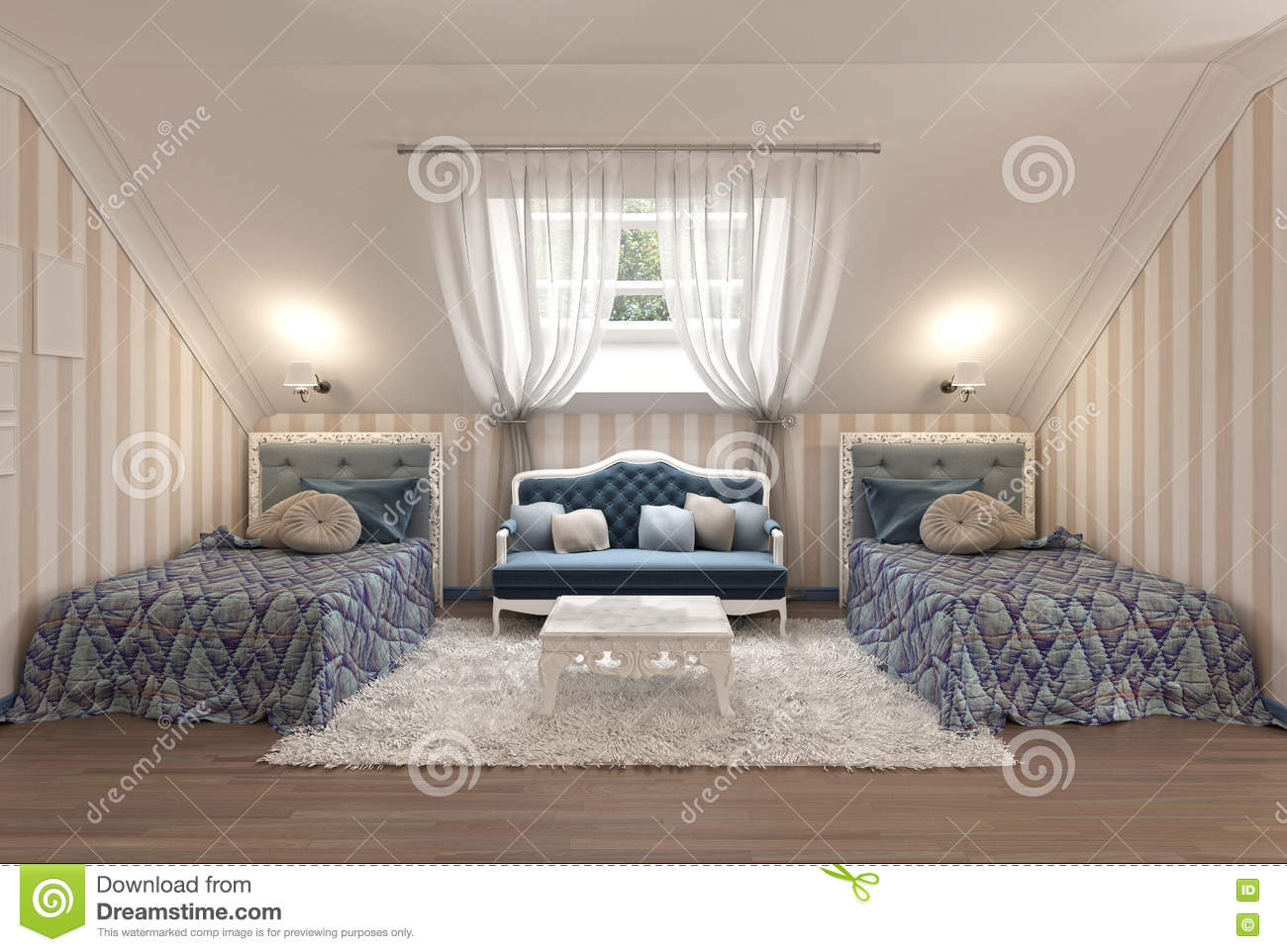 Picture of: Luxury Children S Bedroom For Two Kids With Twin Beds Stock Illustration Illustration Of Lamp House 79489277