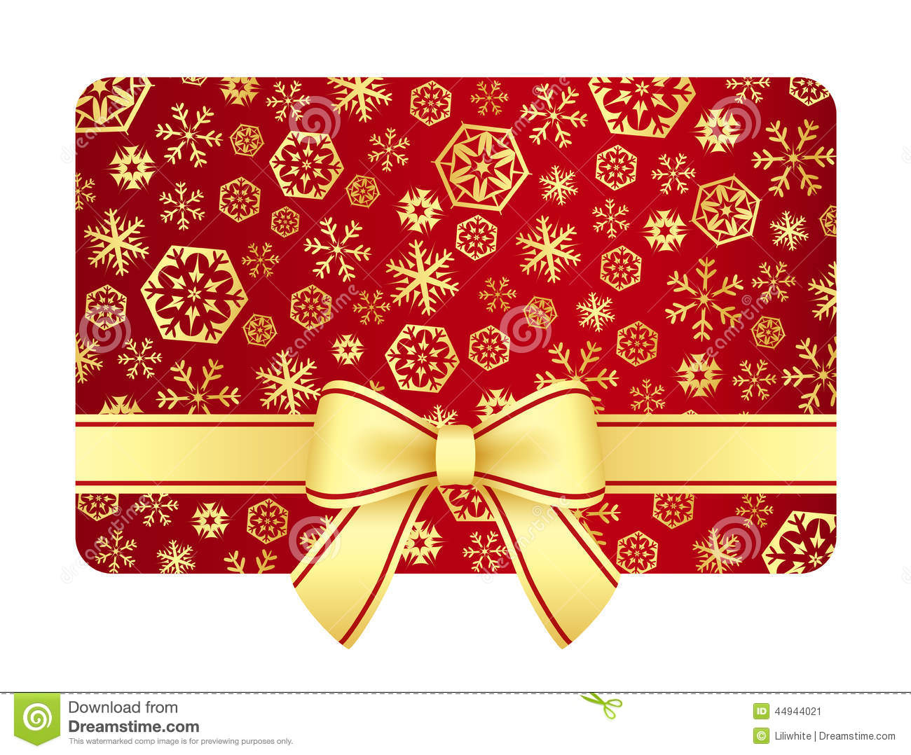 luxury christmas gift card with golden snowflakes stock